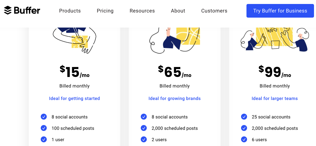 Buffer product pricing